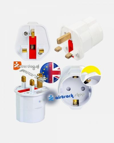 British EU- European Schuko 2 Pin to UK 3 Pin Type G Adaptor